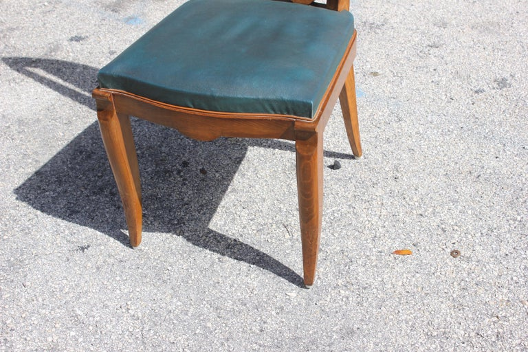 Set of Six French Art Deco Solid Mahogany Dining Chairs by Jules Leleu For Sale 8