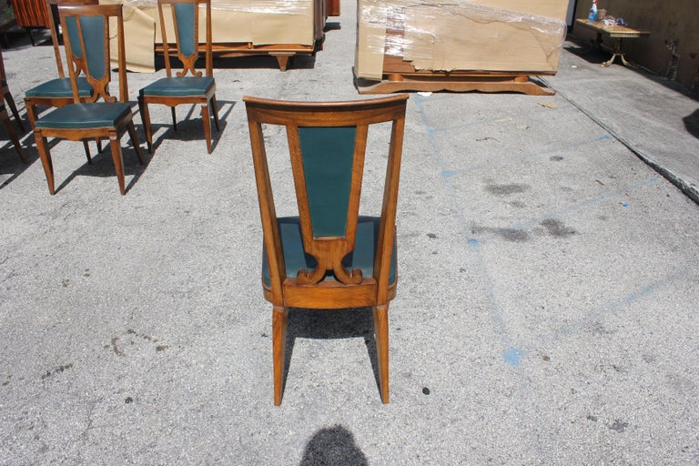 Set of Six French Art Deco Solid Mahogany Dining Chairs by Jules Leleu For Sale 9