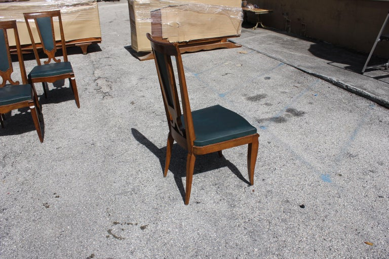 Set of Six French Art Deco Solid Mahogany Dining Chairs by Jules Leleu For Sale 10