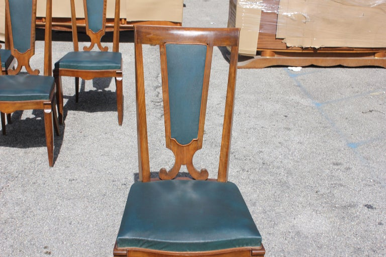 Set of Six French Art Deco Solid Mahogany Dining Chairs by Jules Leleu For Sale 12