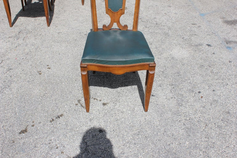 Set of Six French Art Deco Solid Mahogany Dining Chairs by Jules Leleu For Sale 13