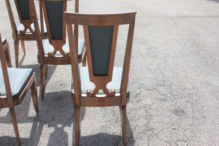 Set of Six French Art Deco Solid Mahogany Dining Chairs by Jules Leleu For Sale 15