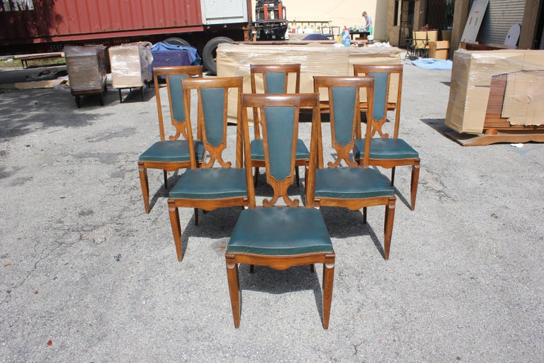 Set of Six French Art Deco Solid Mahogany Dining Chairs by Jules Leleu For Sale 16