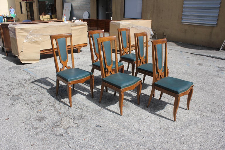 Set of Six French Art Deco Solid Mahogany Dining Chairs by Jules Leleu In Excellent Condition For Sale In Hialeah, FL