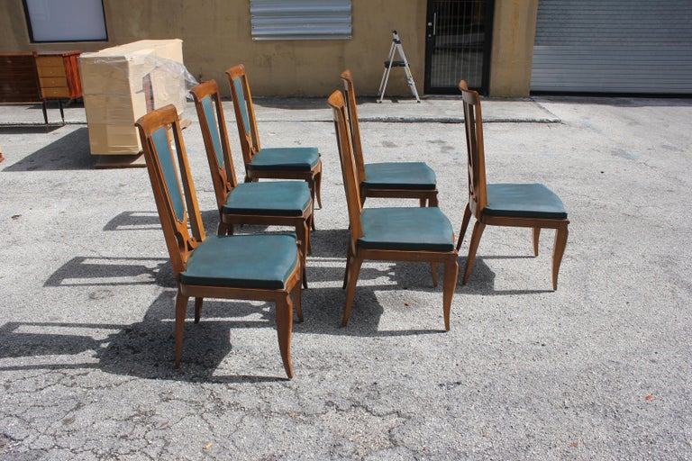 Mid-20th Century Set of Six French Art Deco Solid Mahogany Dining Chairs by Jules Leleu For Sale