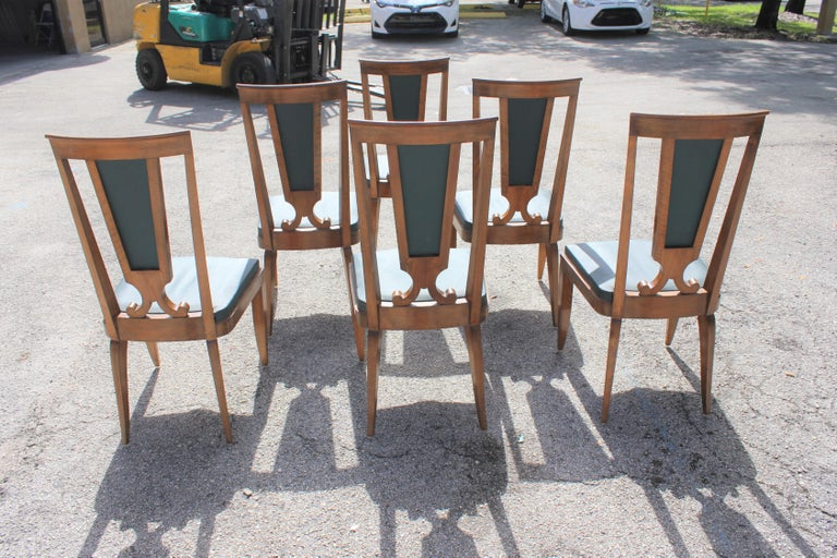 Set of Six French Art Deco Solid Mahogany Dining Chairs by Jules Leleu For Sale 1