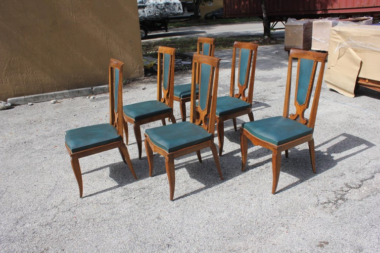 Set of Six French Art Deco Solid Mahogany Dining Chairs by Jules Leleu For Sale 2