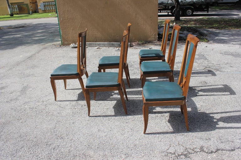 Set of Six French Art Deco Solid Mahogany Dining Chairs by Jules Leleu For Sale 3