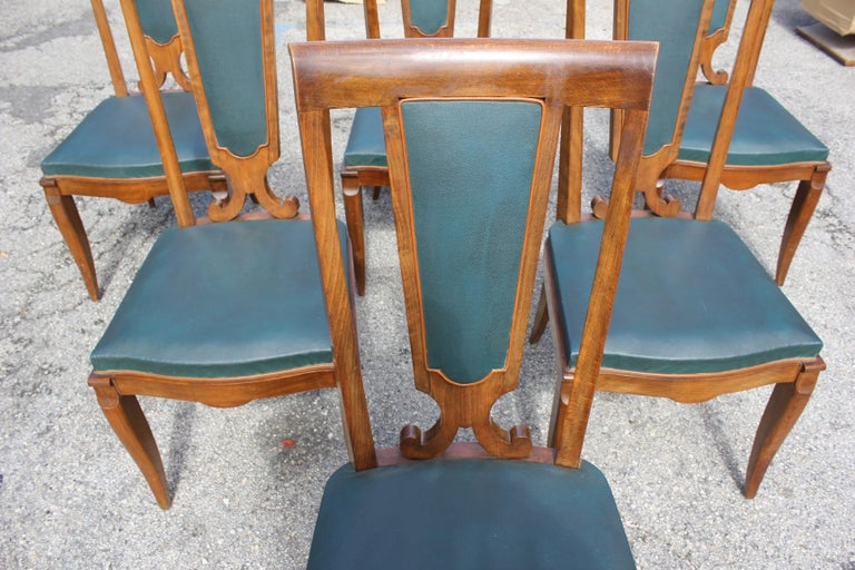 Set of Six French Art Deco Solid Mahogany Dining Chairs by Jules Leleu For Sale 4