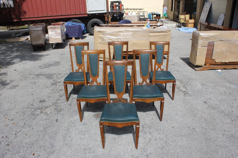 Set of Six French Art Deco Solid Mahogany Dining Chairs by Jules Leleu For Sale 5
