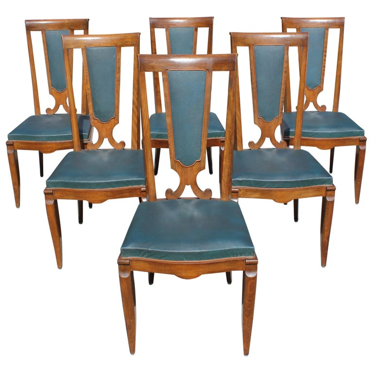 Set of Six French Art Deco Solid Mahogany Dining Chairs by Jules Leleu For Sale