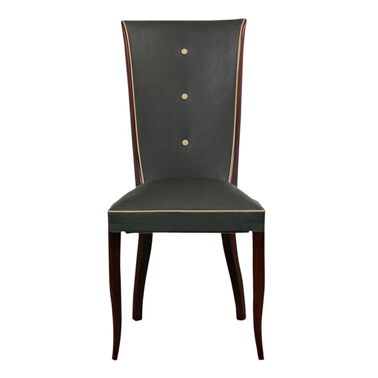 Set of Six French Art Deco Dining Chairs In Good Condition For Sale In Los Angeles, CA