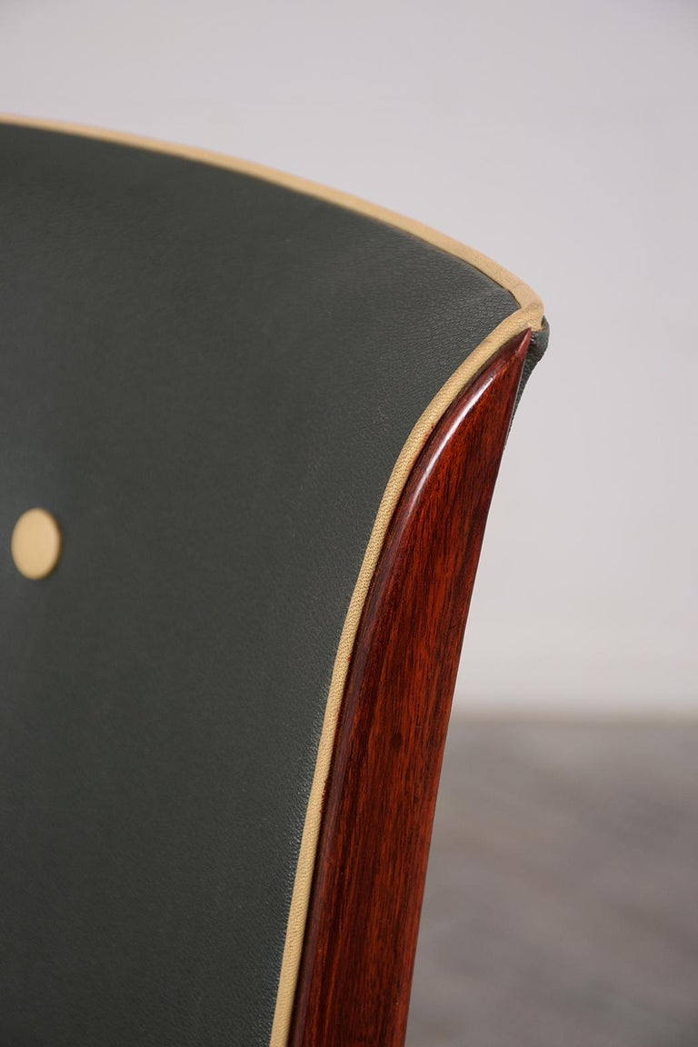Upholstery Set of Six French Art Deco Dining Chairs For Sale
