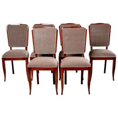 Set of Six French Art Deco Style Dining Chairs with New Upholstery