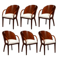 Set of Six French Art Deco Walnut Barrel Back Arm Chairs w/ Klismos Style Legs