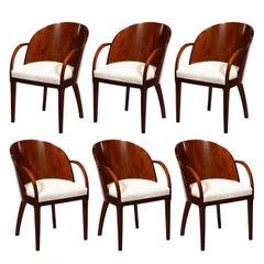 Set of Six French Art Deco Walnut Barrel Back Arm Chairs w/ Klismos Style Legs