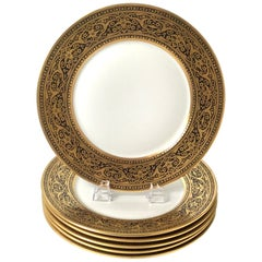 Set of Six French Black and Gold Service Plates
