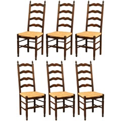 Set of Six French Carved Oak Ladder Back Chairs with Rush Woven Seat