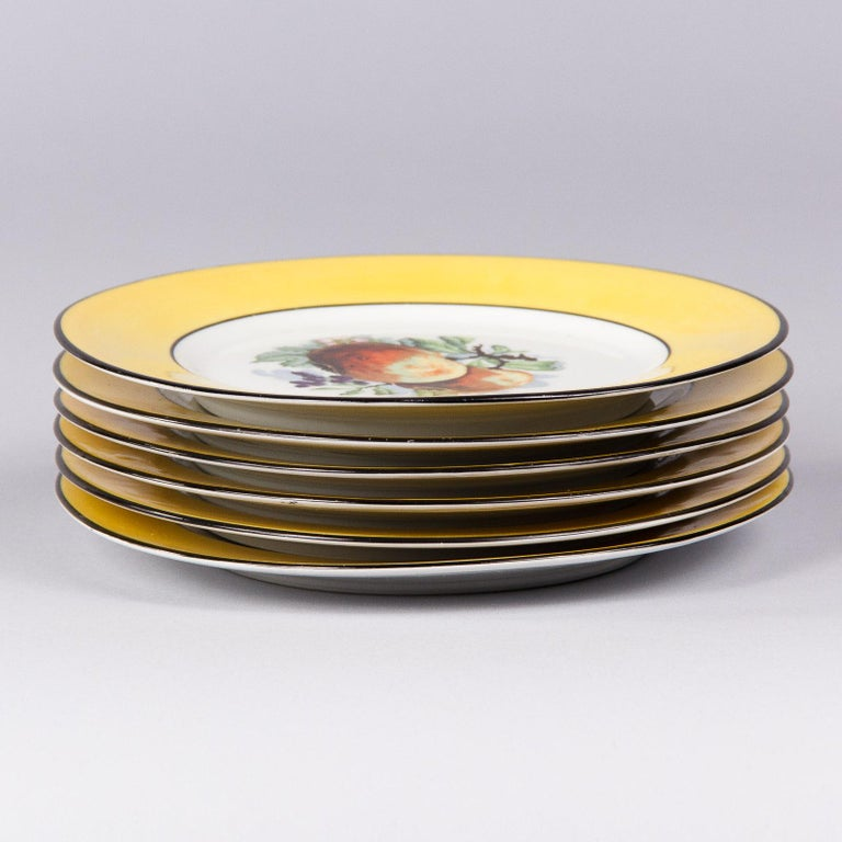 Glazed French Ceramic Plates from Mehun Factory, 20th Century For Sale