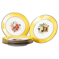Set of Six French Ceramic Plates from Mehun Factory, 20th Century