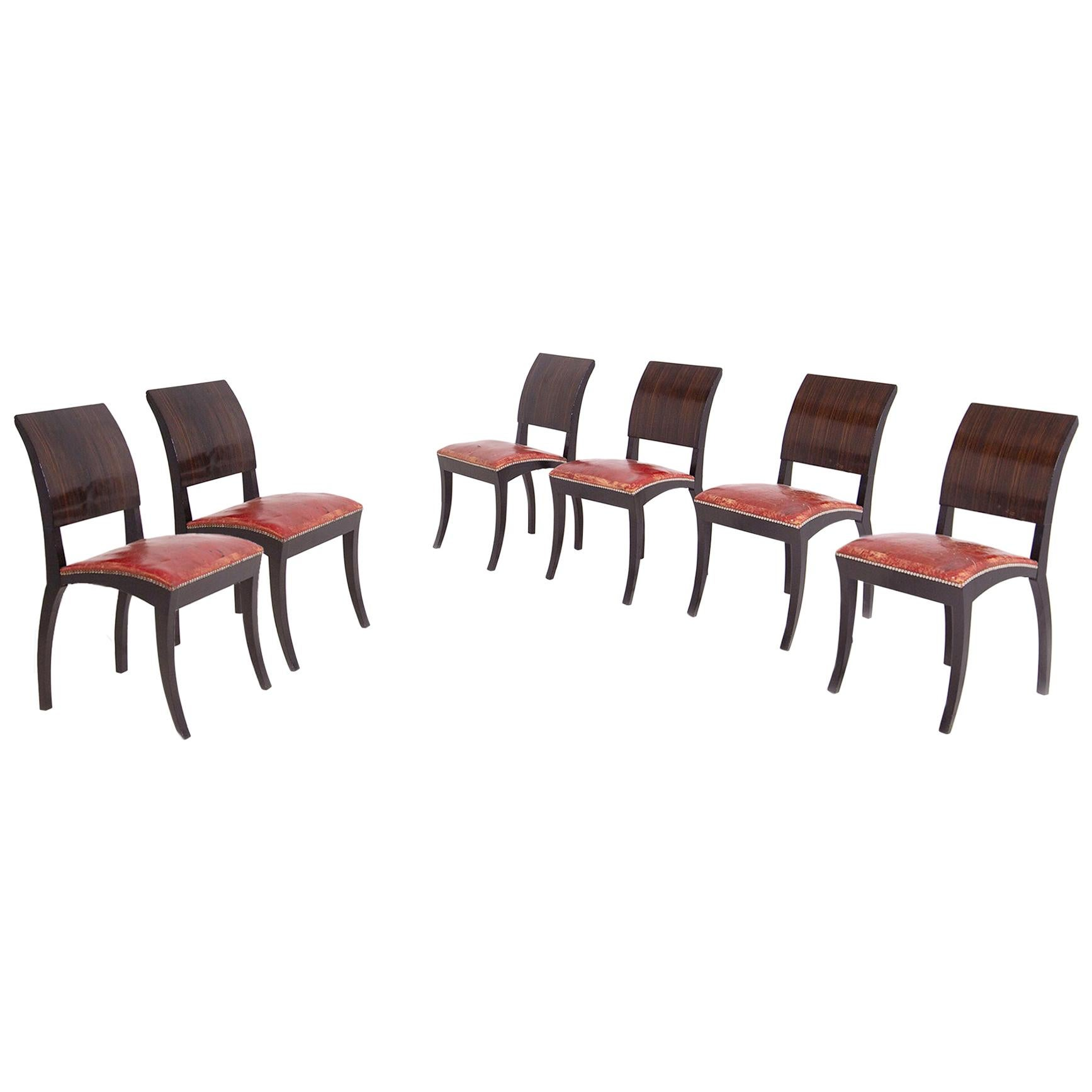 Set of Six French Chairs Art Deco, 1920s-1930s