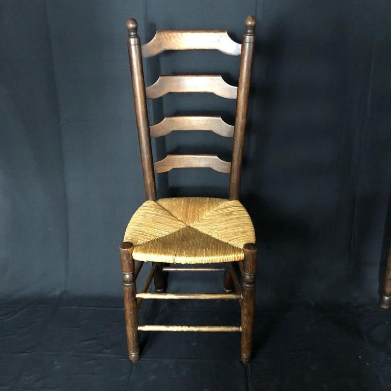 Set of Six French Country Ladderback Chairs with Rush Seats For Sale 6