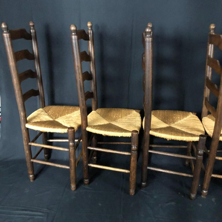French Provincial Set of Six French Country Ladderback Chairs with Rush Seats For Sale