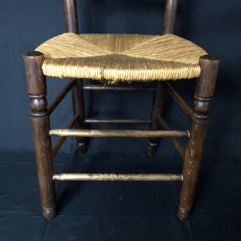 Set of Six French Country Ladderback Chairs with Rush Seats In Good Condition For Sale In Hopewell, NJ