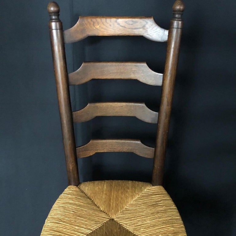 19th Century Set of Six French Country Ladderback Chairs with Rush Seats For Sale