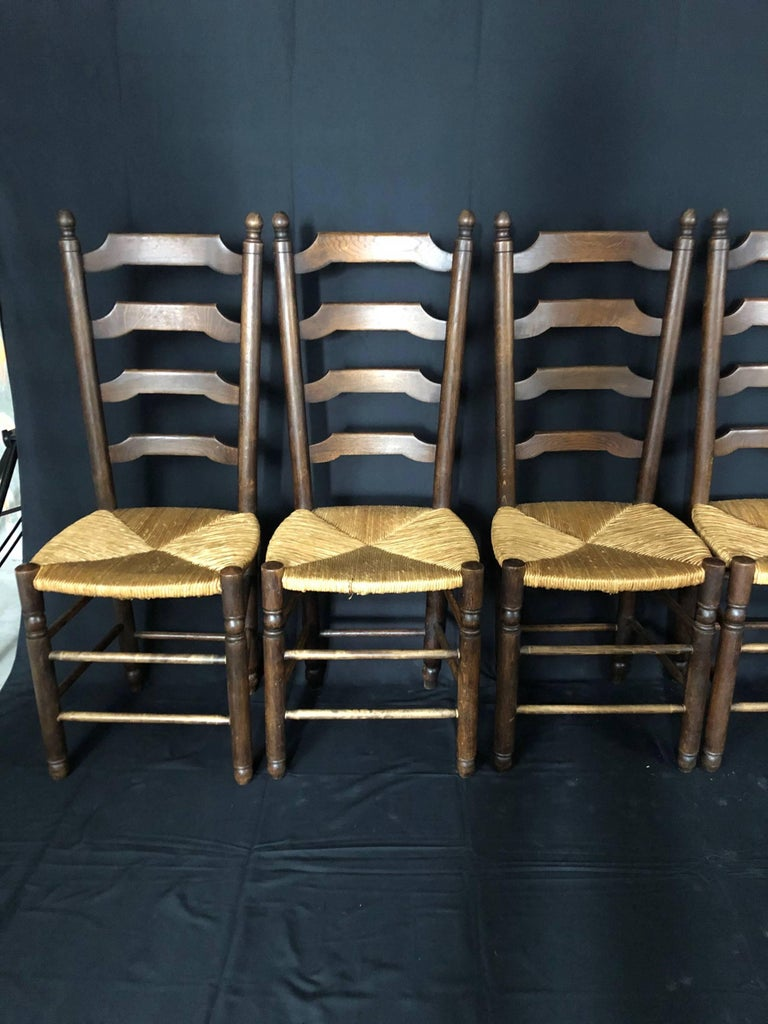 Set of Six French Country Ladderback Chairs with Rush Seats For Sale 1