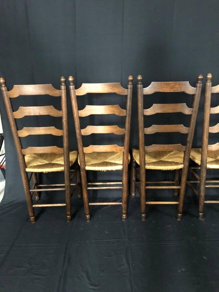 Set of Six French Country Ladderback Chairs with Rush Seats For Sale 4