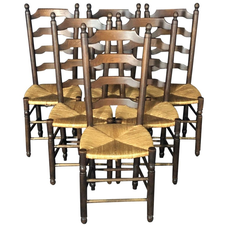 Set of Six French Country Ladderback Chairs with Rush Seats For Sale