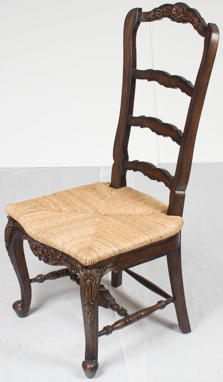 Set Of Six French Country Style Ladder Back Carved Dining Room Chairs In New Condition For