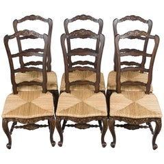 Set of Six French Country Style Ladder Back Carved Dining Room Chairs