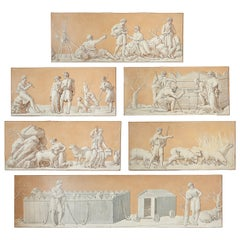 Set of Six French En Grisaille Paintings of Arcadian Scenes, 19th Century