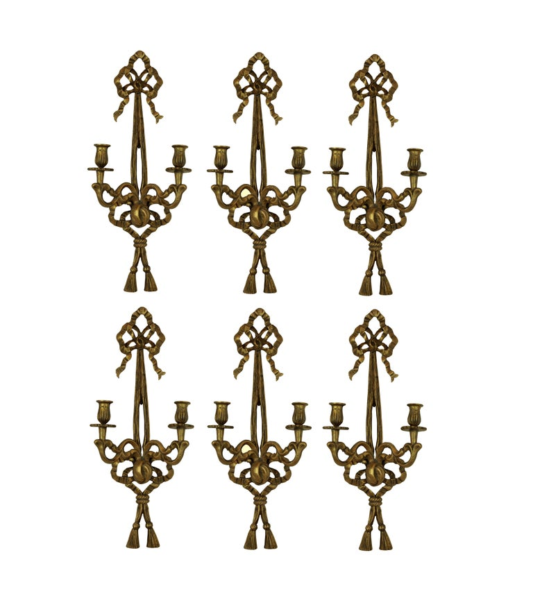 Mid-20th Century Set of Six French Giltwood Wall Sconces