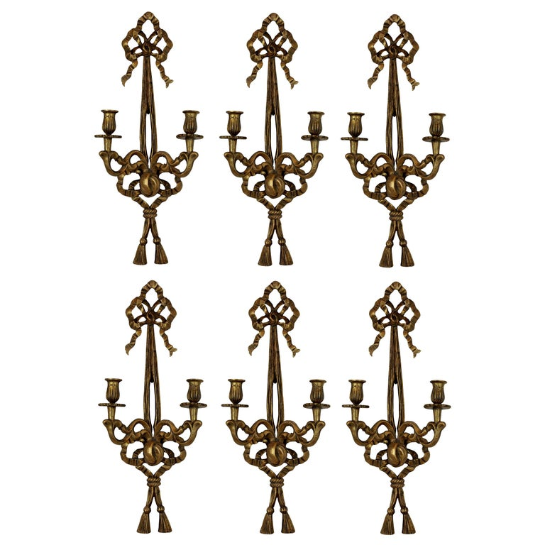 Set of Six French Giltwood Wall Sconces