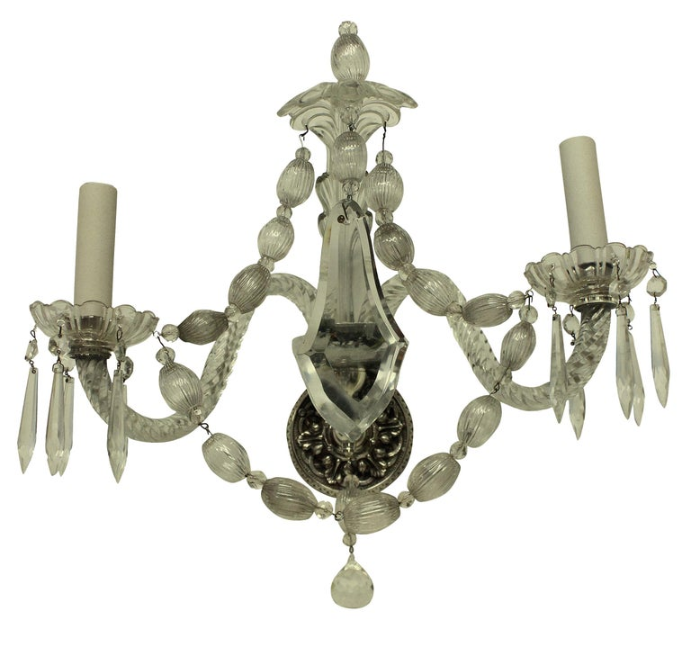 Early 20th Century Set of Six French Glass Wall Sconces
