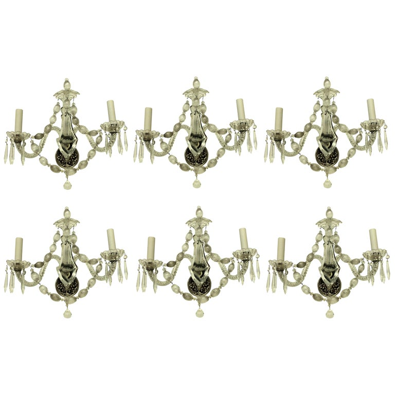 Set of Six French Glass Wall Sconces