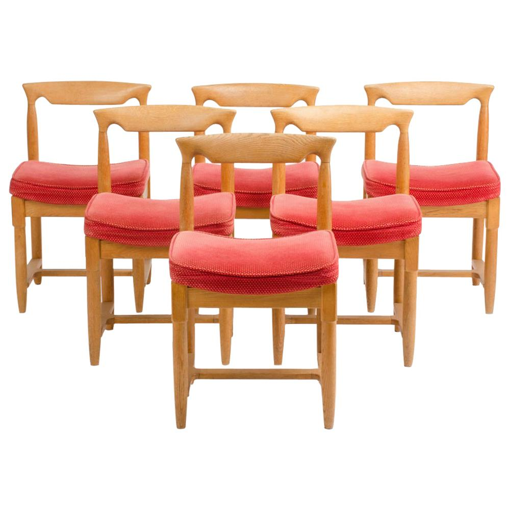 Set of Six French Guillerme et Chambron Dining Chairs, circa 1960