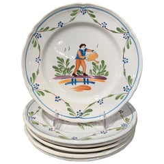 Set of Six French Hand Painted Ceramic Plates from Brittany