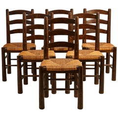 Set of Six French Ladder Back and Rush Seat Dining Chairs