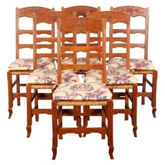 Set of Six French Ladder-Back Chairs