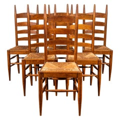 Set of Six French Ladder Back Dining Chairs with Rush Seat