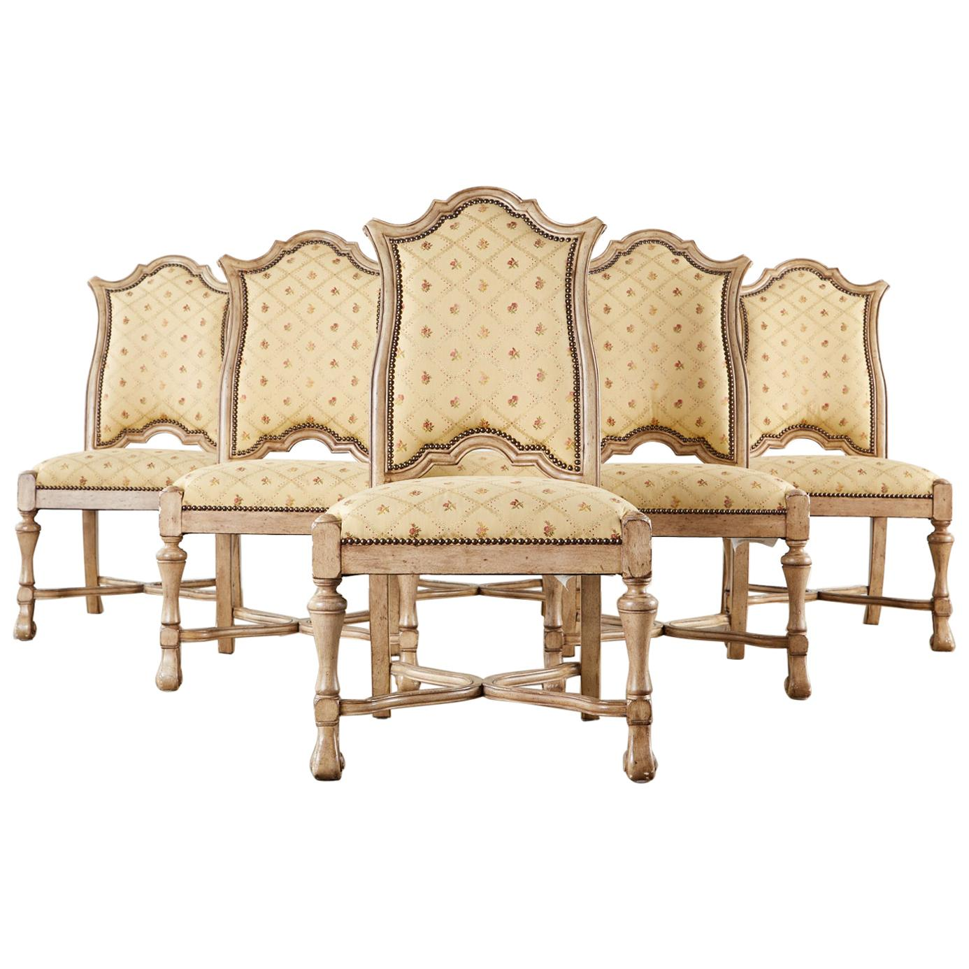 Set of Six French Louis XIII Style Lacquered Dining Chairs