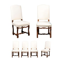 Set of Six French Louis XIII Style Walnut Os de Mouton Upholstered Dining Chairs