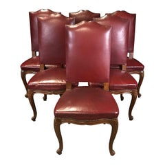 Set of Six French Louis XV Style 19th Century Walnut and Leather Dining Chairs