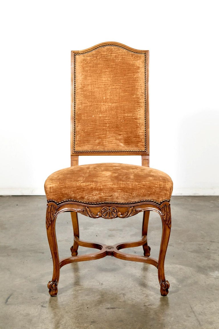 Set of Six French Louis XV Style Carved Dining Side Chairs In Excellent Condition For Sale In Birmingham, AL