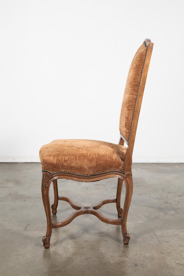 Mid-20th Century Set of Six French Louis XV Style Carved Dining Side Chairs For Sale
