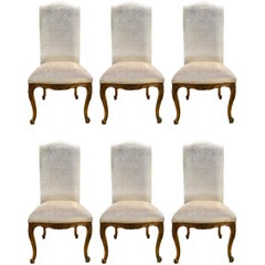 Set of Six French Louis XV Style Chairs, 19th c. High Back with New Upholstery